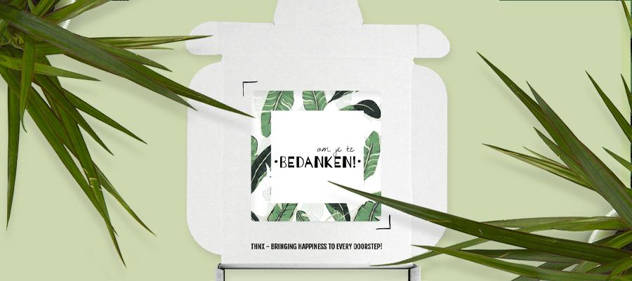 Binnenkant Kaartje Brievenbuspakketje Collega Cadeau Evergreen Pakket