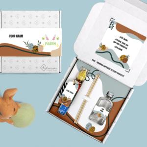 Inhoud Brievenbuspakketje Pasen Modern Easter Pakket Geurstokjes Chocolade Paaseitjes