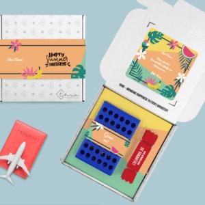 Inhoud Brievenbuspakketje Zomerpakket Happy Tropical Skittles 4 op een rij