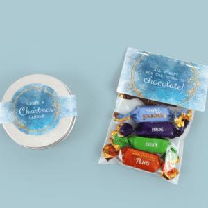 Inhoud Brievenbus Cadeau Kerst Geurkaars Vanille en Mini Merci Chocolaatjes Christmas Night Design