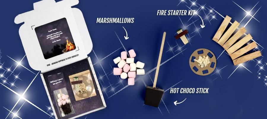 Brievenbuspakketje Kerst Kerstcadeaus Bonfire Chocolademelkstokje Marshmallows Vuurstarter