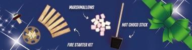 Brievenbuspakketje Kerst Cadeau Vuurpakket met Chocolademelk stokje en Mini Marshmallows