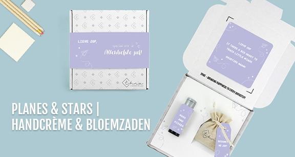 Brievenbuspakketje Dag van de Leraar Planes & Stars Janzen Handcrème Bloemzaden