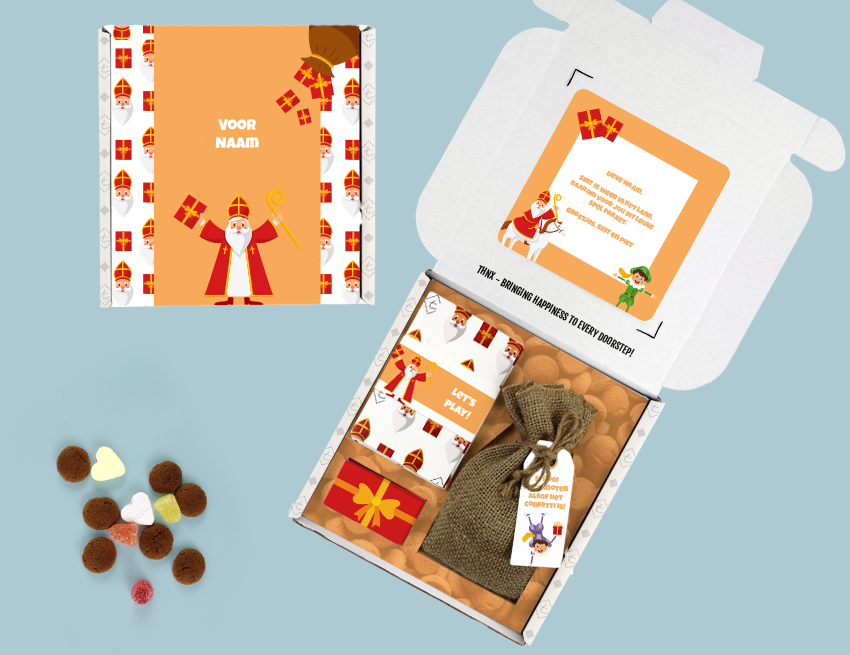 Brievenbus Cadeau Sinterklaas Ganzebordspel Sinterpietenbord Pionnen Dobbelstenen Jute zak pepernoten en chocolade muntjes