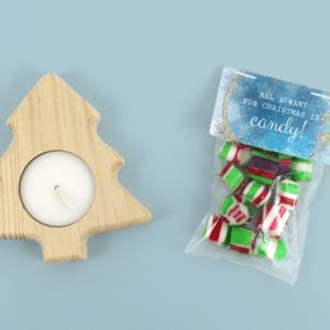 Inhoud Brievenbuspakketje Kerst Keuze Cadeau Christmas Night Kerstboomkaars Zakje Candy Snoep Hangemaakt Cadeaukaart