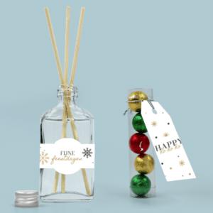 Inhoud Keuzecadeau Kerst Pakket Brievenbus Cadeau Geurstokjes met Chocoladeballetjes