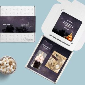 Kerst Brievenbus cadeau vuurpakket chocolademelk stokje zakje mini marshmallows bonfire