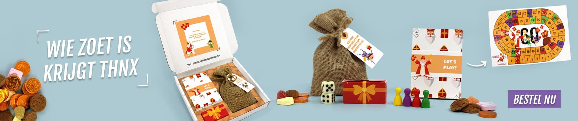 Brievenbuspakketje Sinterklaas Pakjesavond Ganzenbord Spelpakket Jute zak met Pepernoten Sinterklaassnoepgoed